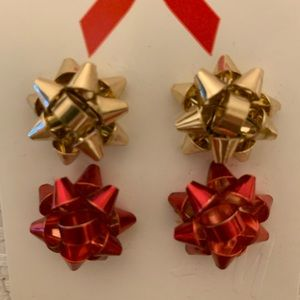 NWT H&M Christmas Bow Bag red and gold earrings